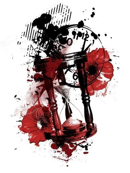 Trash polka trashpolka skull clock time butterfly color arm - Polka Trash Tattoo Designs